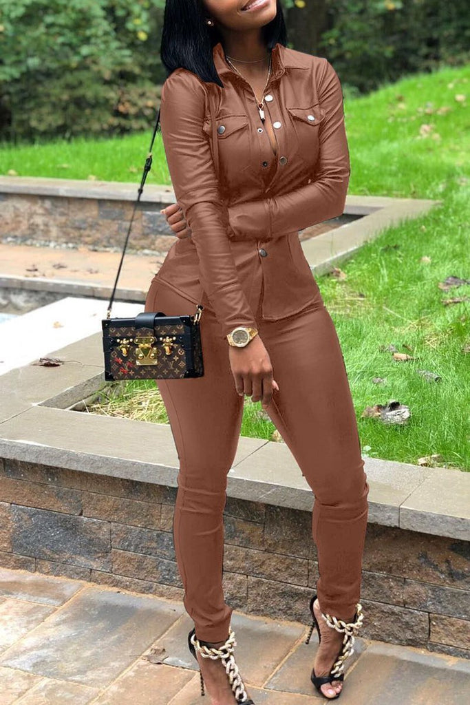 Leather Long Sleeve Solid PU Two Piece Sets