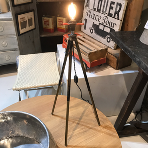 Adjustable Lamp made from 1940s Camera Tripod