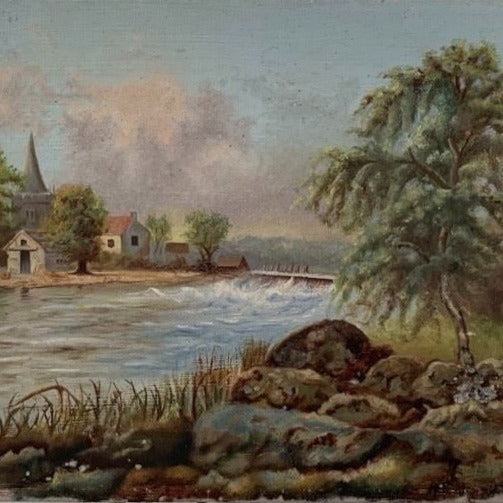 Painting - Tree on Right Houses in Background