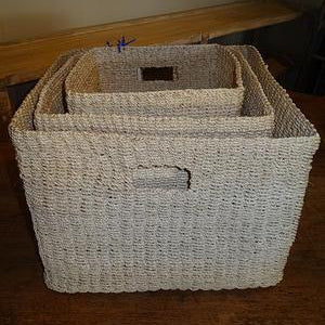 Bleached Square Towel Basket