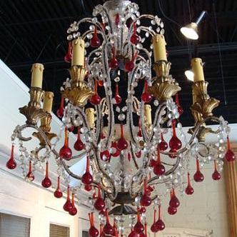 Italian Rouge Crystal Chandelier