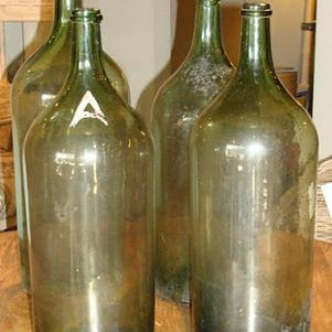 Vintage Tall Green Bottles