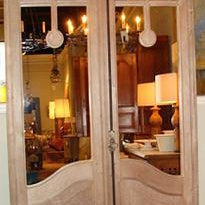 Pair of Bleached French Antique Mirrored Doors
