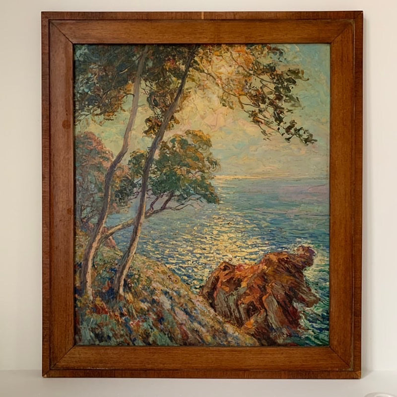 French Riviera Painting Oil on Board