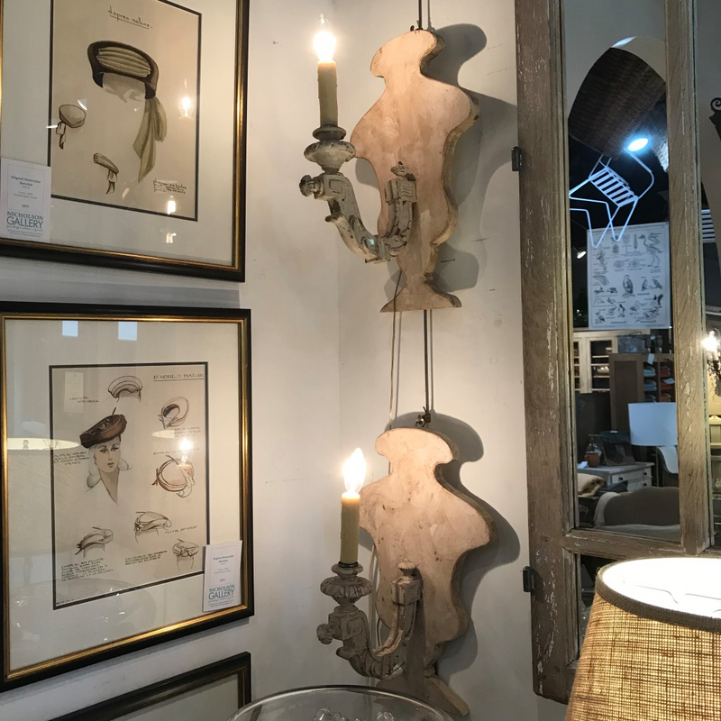 Pair of White Painted Sconces with Arm