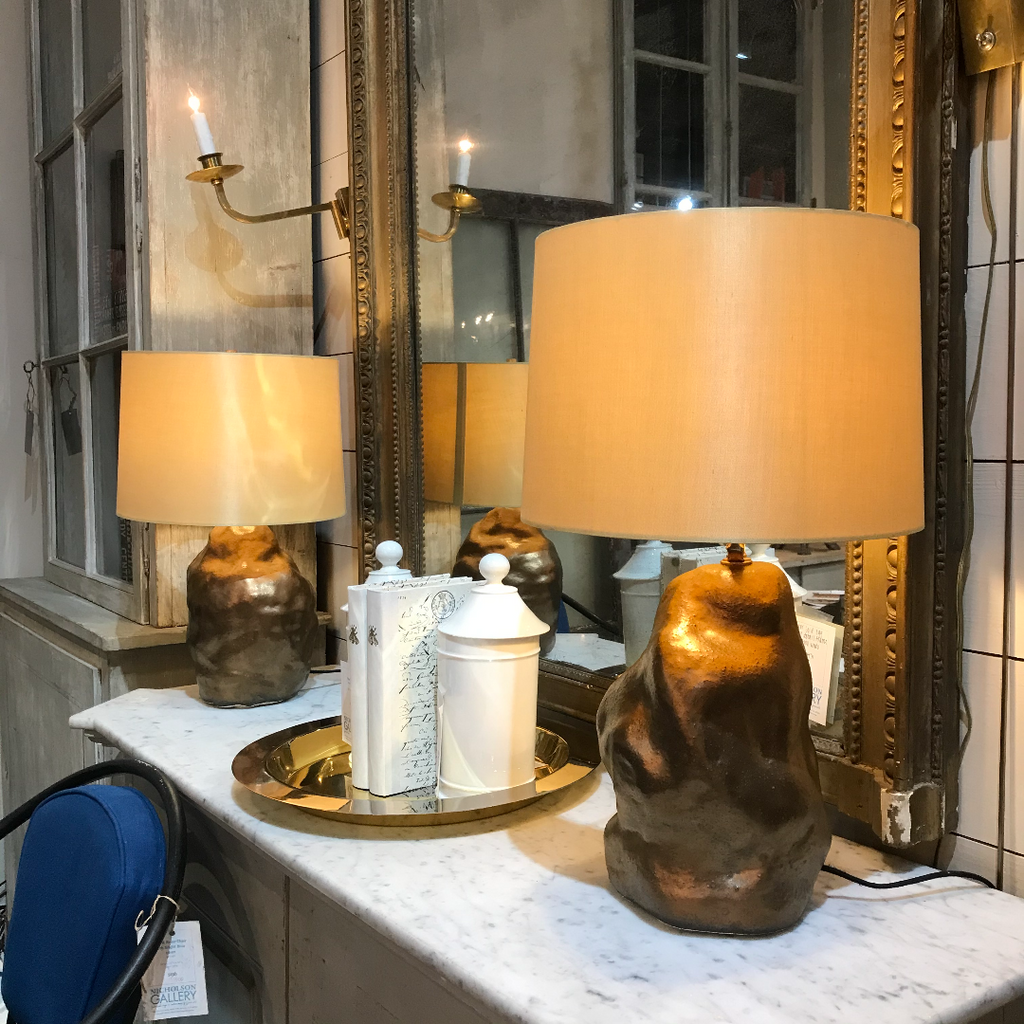 Amorphous Bronze Lamp with Gold Silk Shade