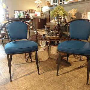 Iron Arch Chairs in Bright Blue Linen