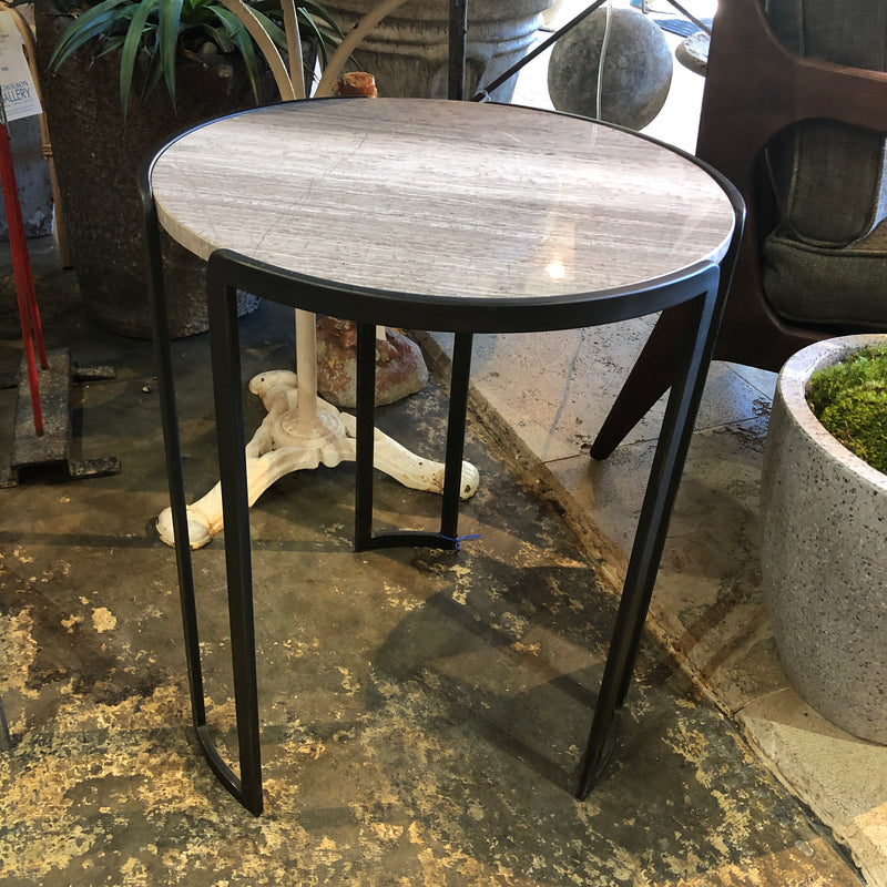 Round Stone Table w/ Iron Legs