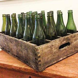 European Crate with Glass Bottles
