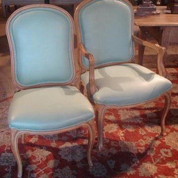 Pair of Upholstered Chairs in Teal Linen