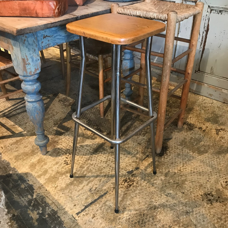 Wood & Chrome Tall Stool