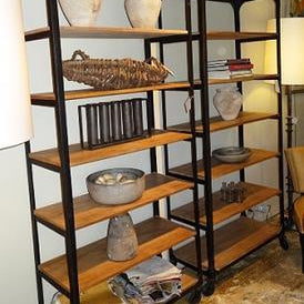 Wood and Metal Rolling Shelving Unit