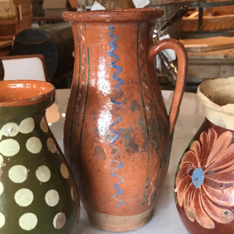 Tall Earthenware w/Blue Squiggle