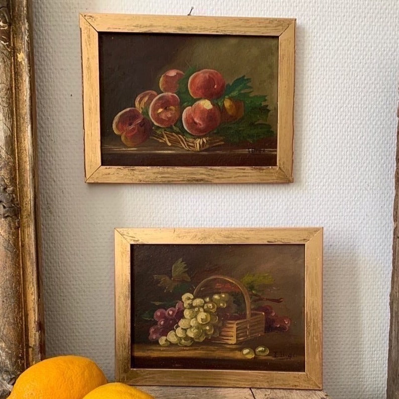 2 Small Framed Paintings - Peaches and Grapes