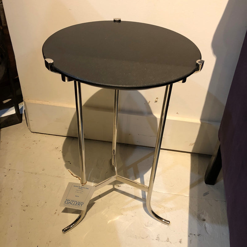 Nickel & Black Granite Side Table