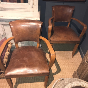 Leather and Wood Armchair