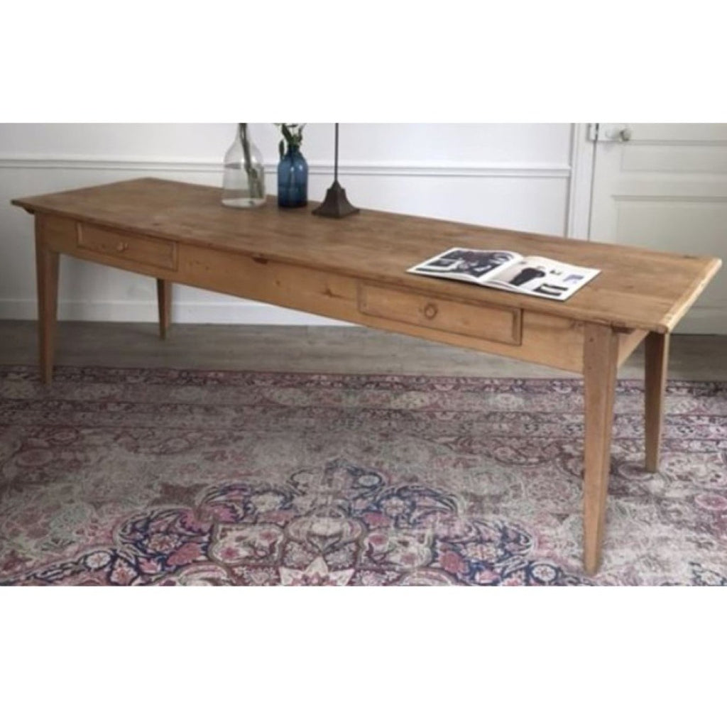 Long Pine Table with Tapered Legs & 2 Drawers