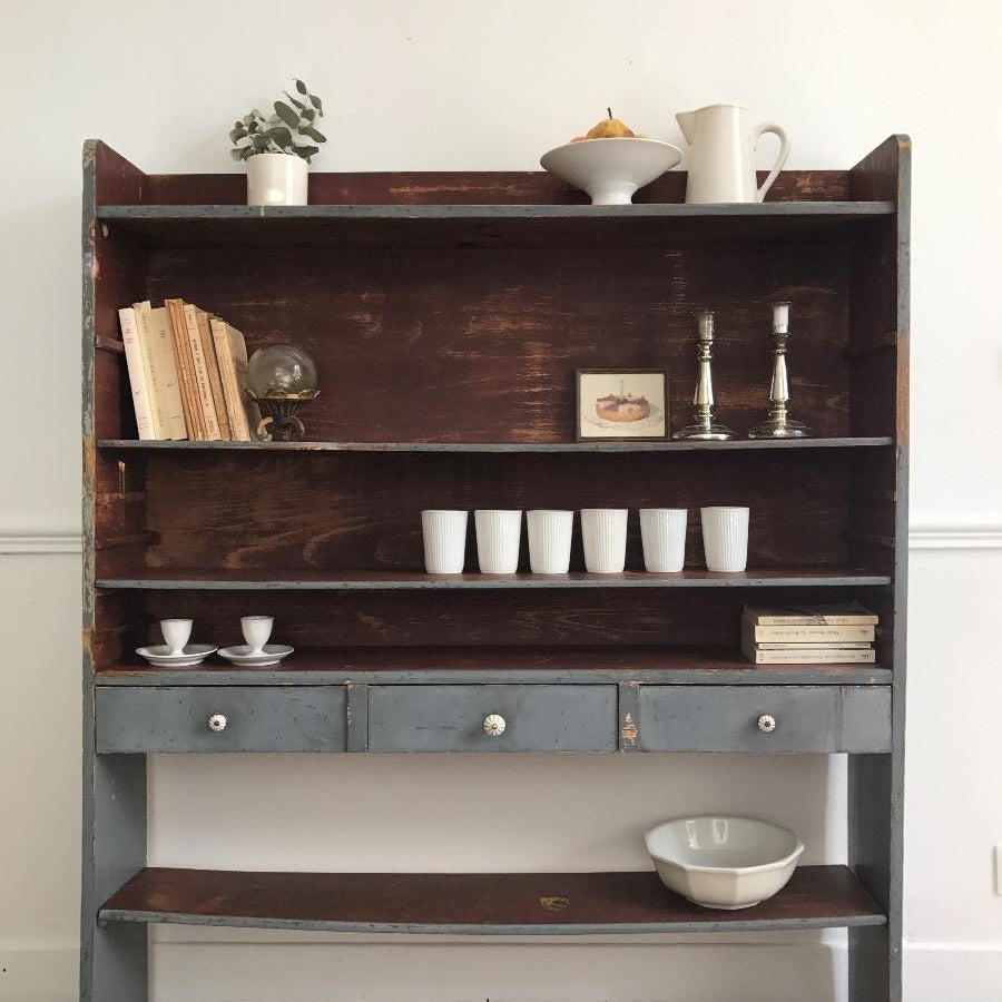 Painted Shallow Shelves with Drawers
