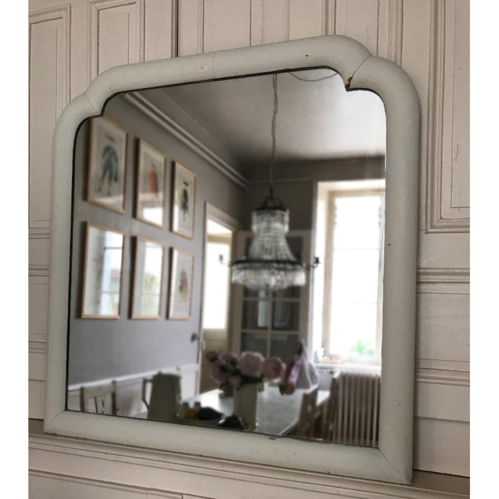 Painted White Mirror with Shoulders