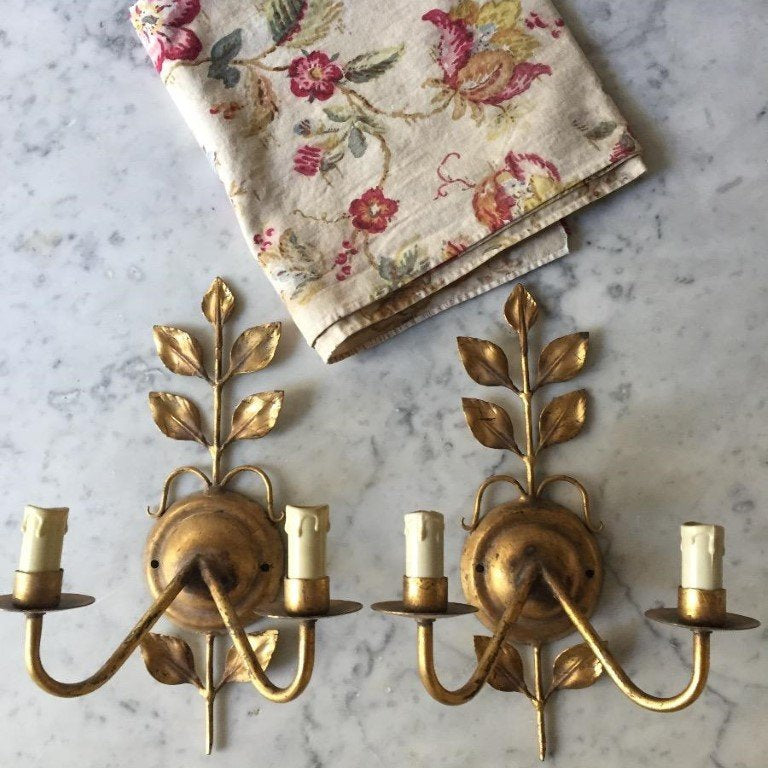 Pair of Gilt Sconces, E19-1607-NOM
