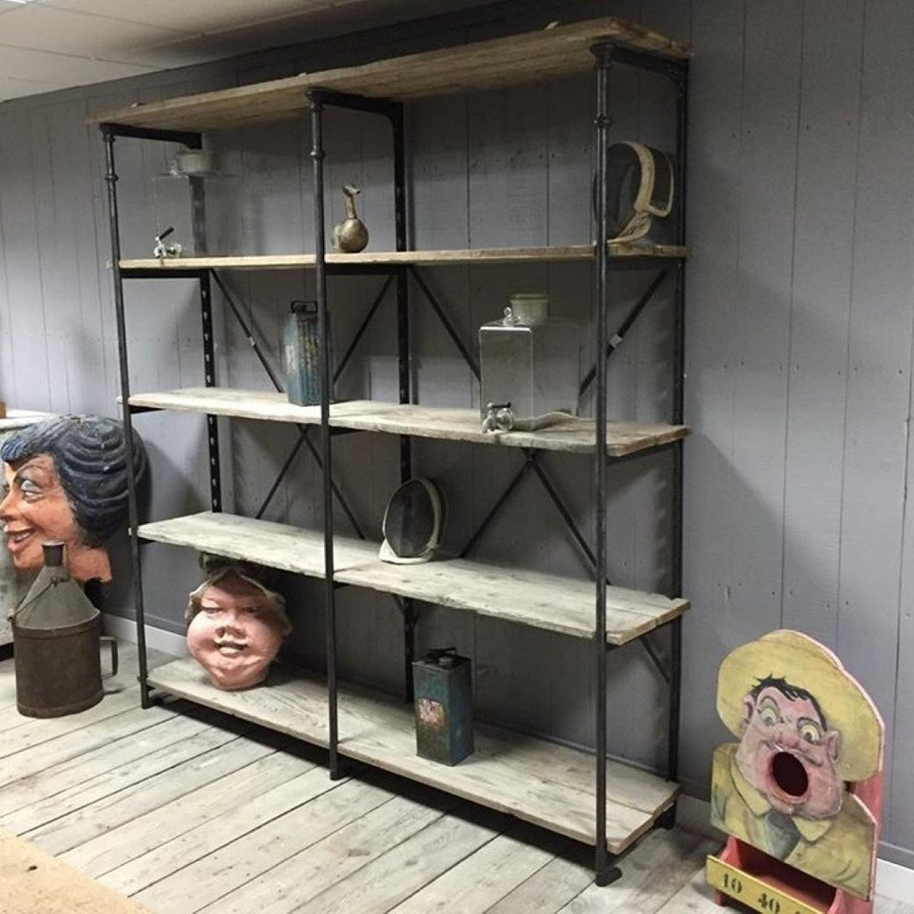 Industrial Iron Wood Bookcase with Adjustable Shelves,  E2-1611-OR