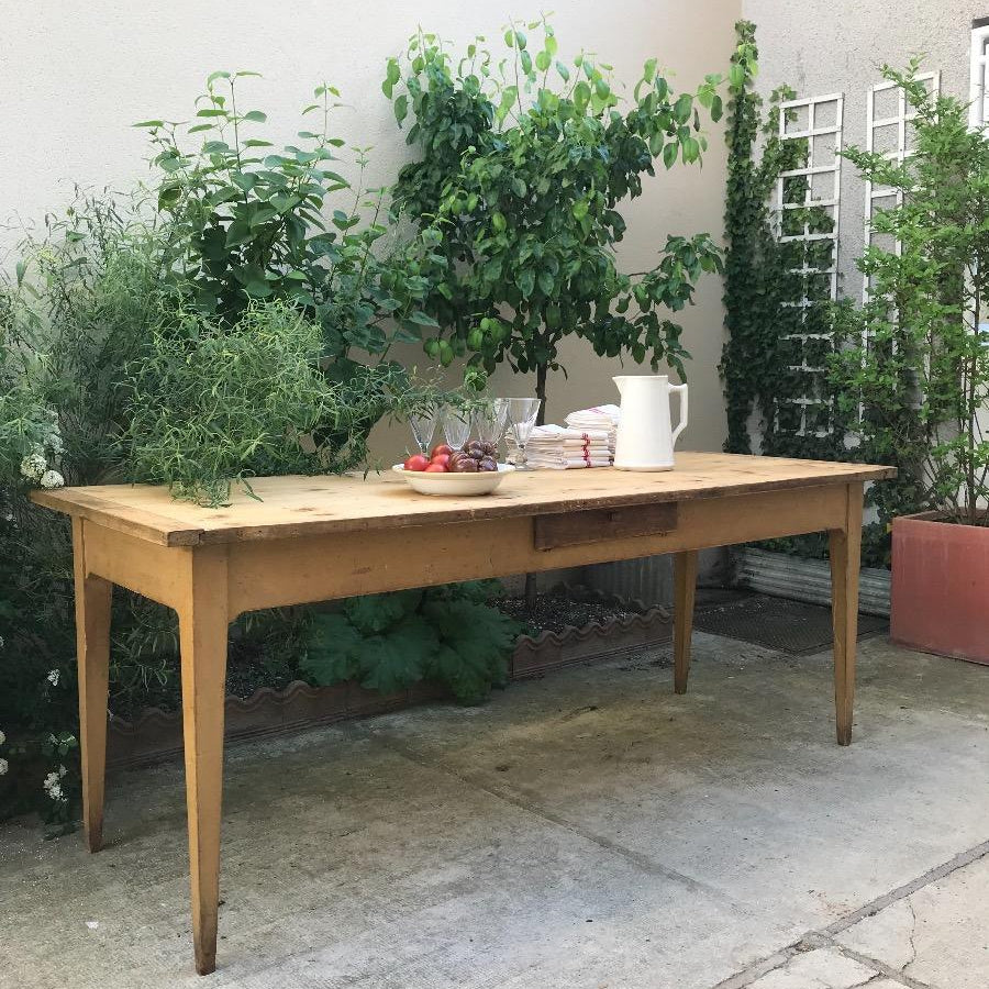 Mustard Table with Drawer - Pine