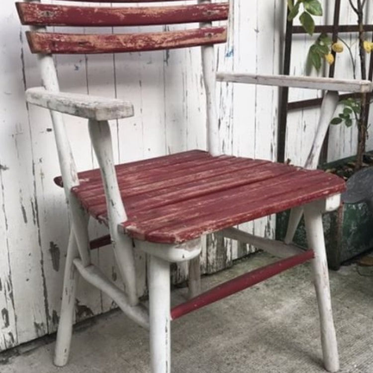 Red & White Wood Armchair