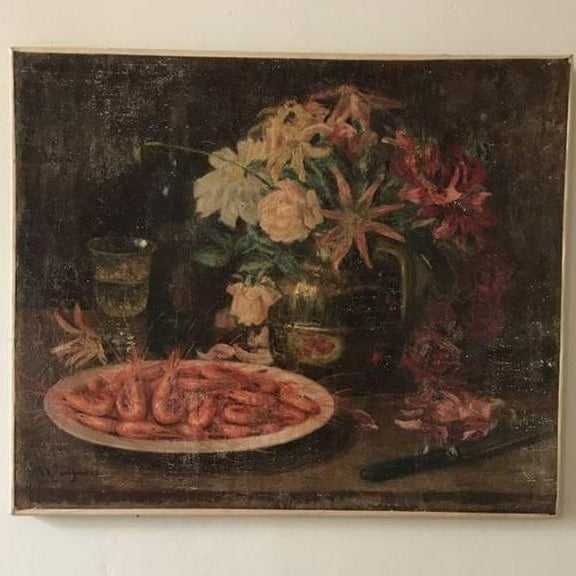 Still Life with Shrimp - Oil on Canvas
