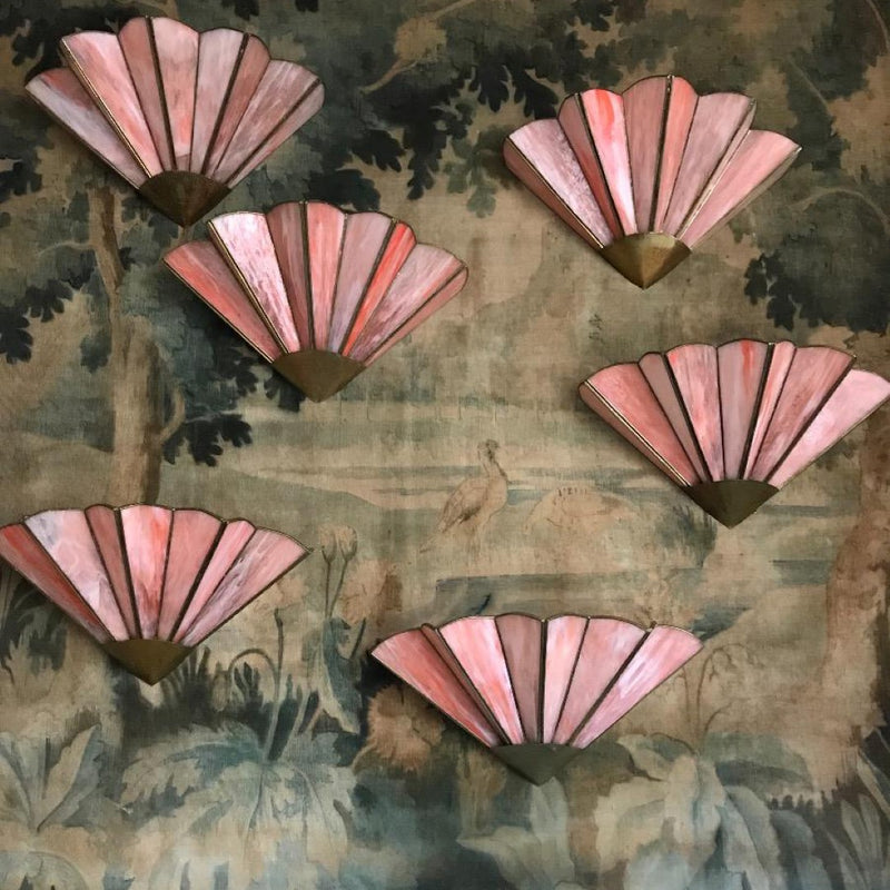 Pink Glass & Brass Fan Sconce