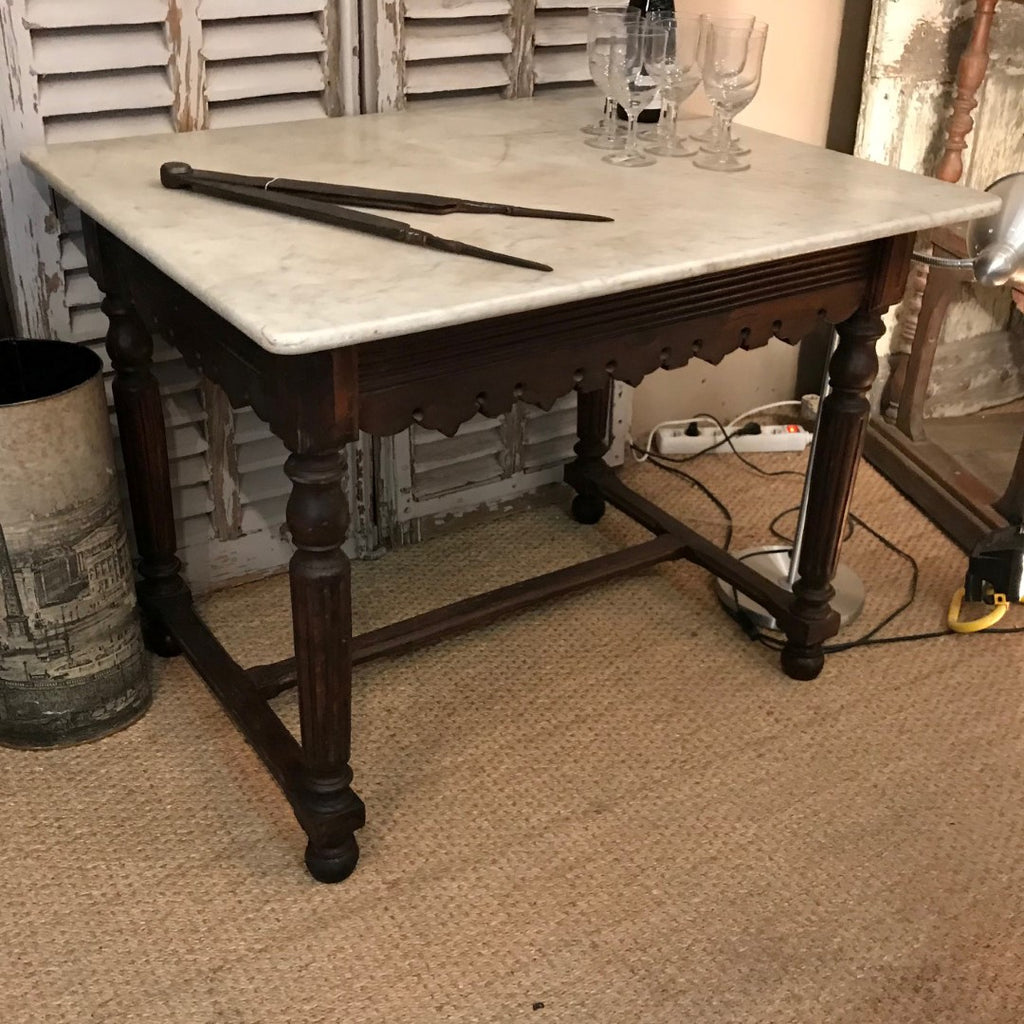 Butcher's Table with Marble Top & Decorative Apron