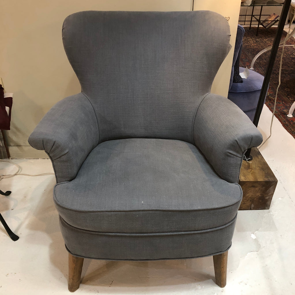 Blue Wing Chair Reupholstered in Libeco Linen
