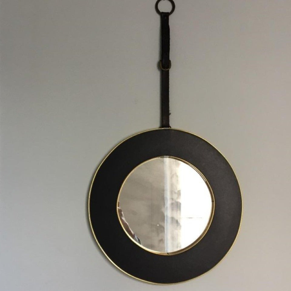 Brass and Leather Mirror, E3-1611-NOM