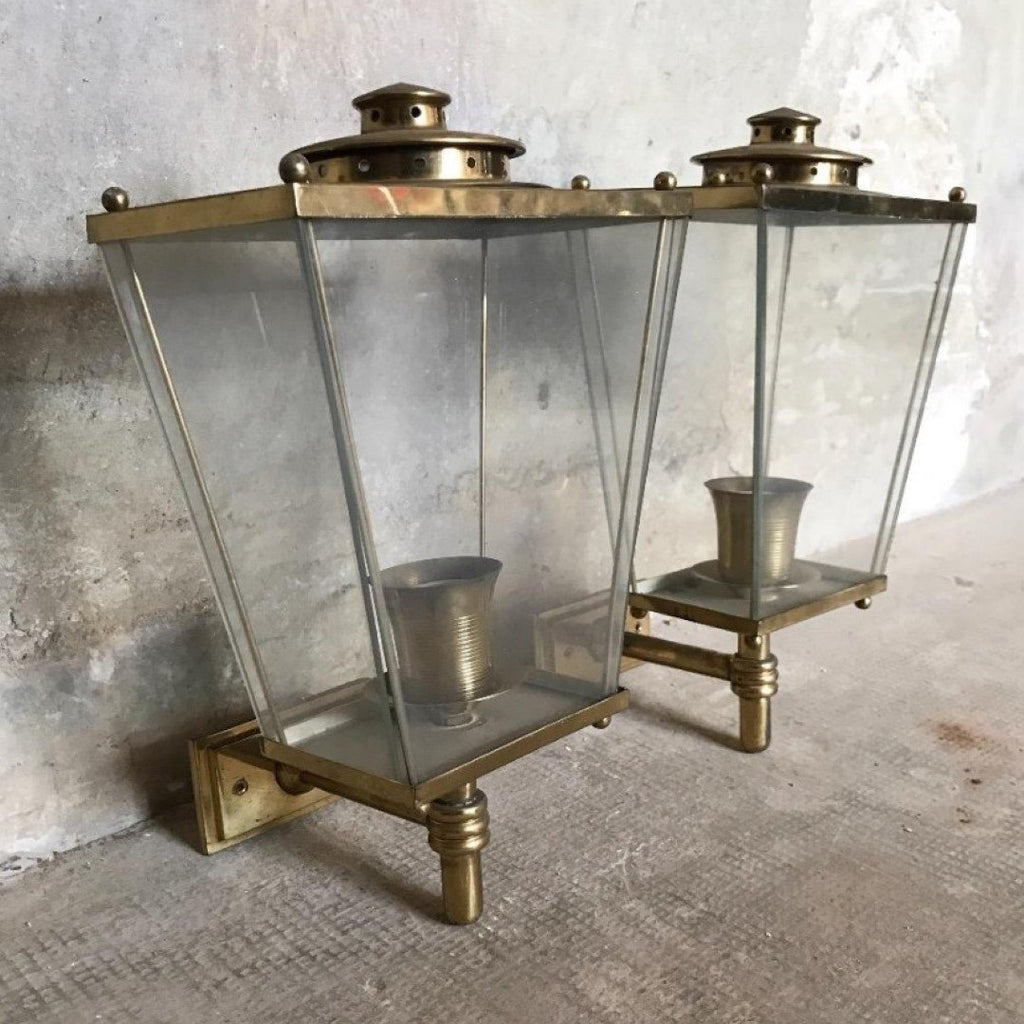 Pair of Vintage Brass Lantern Sconces, E40-1703-BB
