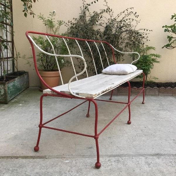 Red Iron Outdoor Bench