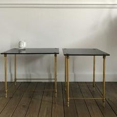 Set of 2 Brass and Black Opaline Tables