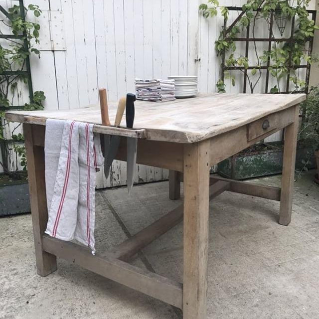 Bleached Beech Table with Knife Holder