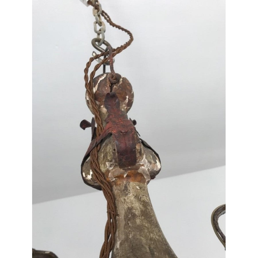 Crusty Wood and Metal Chandelier
