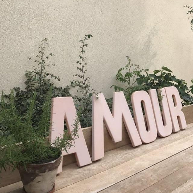 """AMOUR"" Pink Letters"