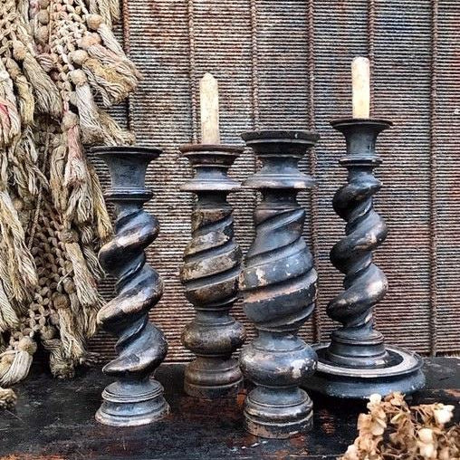 Black Twisted Mahogany Candle Sticks