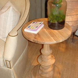 Old Elm Pedestal Side Table