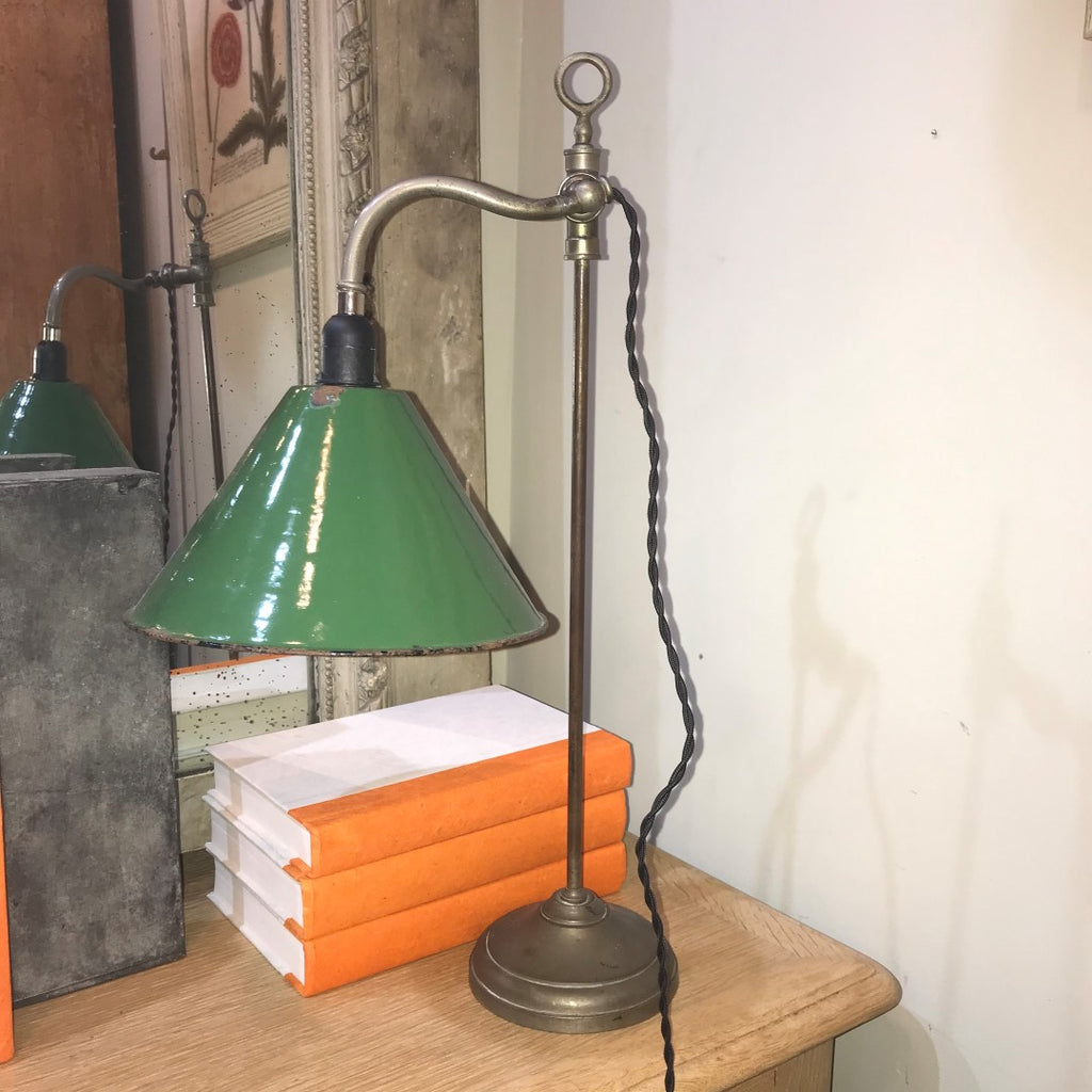 Adjustable Lamp with Enameled Shade