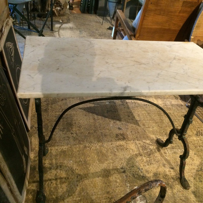 Marble Top Bistro Table with Painted Green