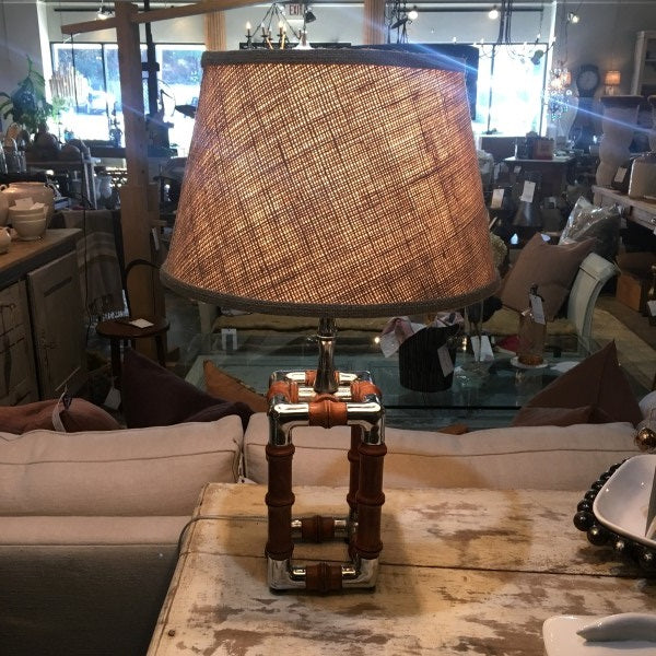 Unusual Chrome and Wood Table Lamp, E21-1702-SB