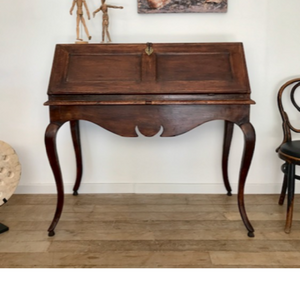 Dark Stained Oak Fall Front Desk with Creamy White Paint Inside