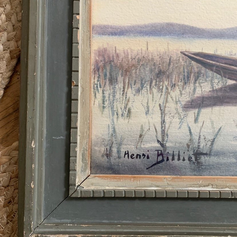 Framed Watercolor of Boat