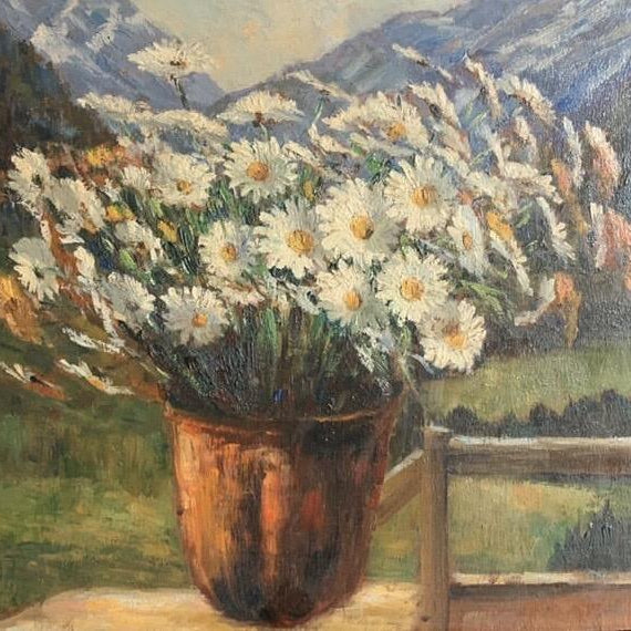 Daisies - Oil On Canvas