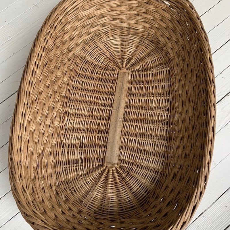 Huge Shallow Basket w/Wood Supports