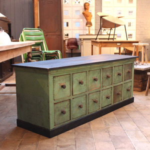 Green 12 Drawer Low Console
