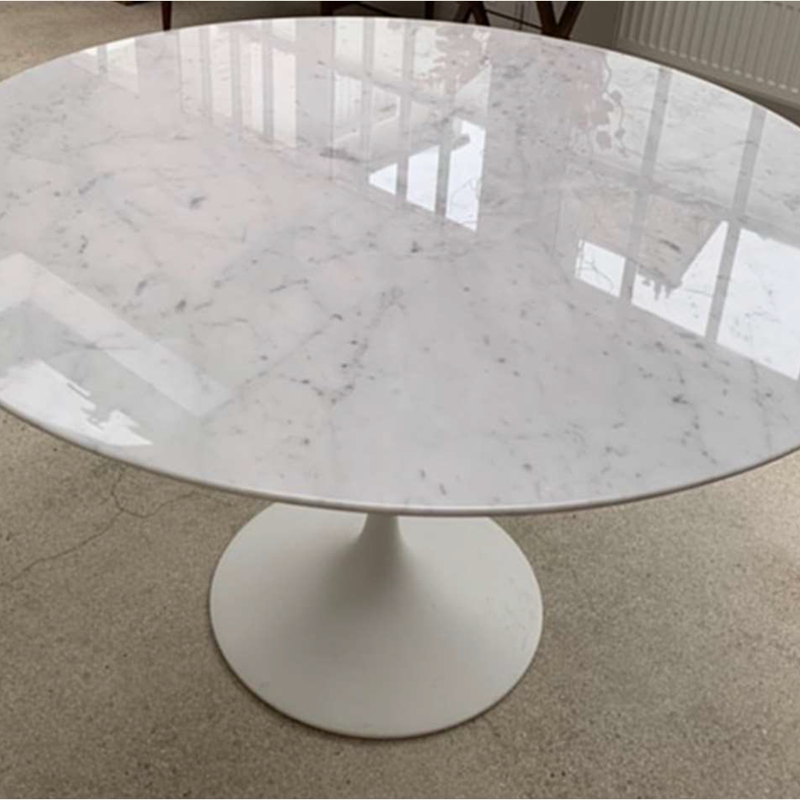 "48"" Round Marble Tulip Table-Knoll International by Eero Saarinen"