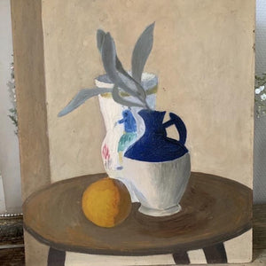 "Still Life ""Blue & White Jug with Vase"" Oil on Board"